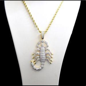 Other - 14k Gold Finish Lab Diamond Scorpion Charm Chain